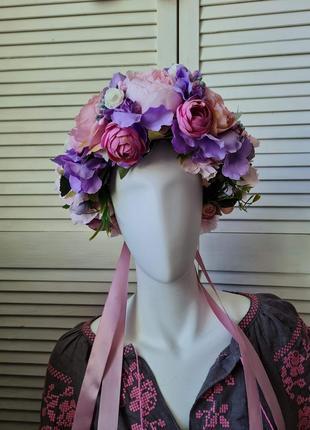 Венок на голову с искусственных цветов