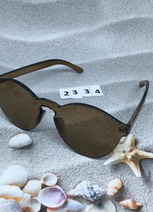 Коричневые очки без оправы лето 20214 фото