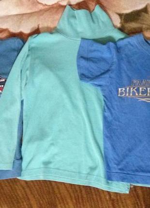 3шт водолазка футболка свитер-рубашка-обманка на мальчика 130-140см хлопок трикотаж