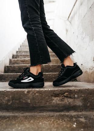 Fila disruptor 2 black кроссовки на высокой подошве