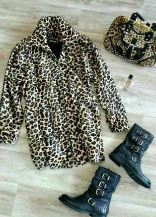 Куртка,парка, пальто  оверсайз, в леопардовый принт carolean