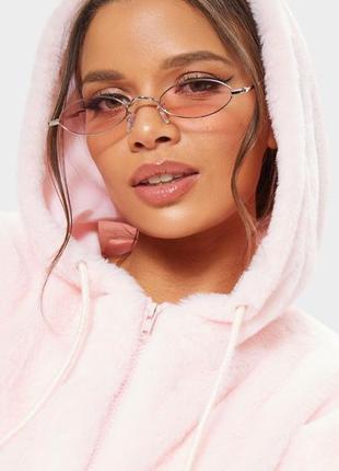 Модные солнцезащитные очки розовые узкие овальные ретро очки 7016