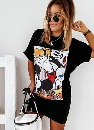 Платье футболка, длинная футболка, платье туника, черная длинная футболка, черное платье (арт.100402