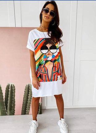 Платье футболка, длинная футболка, платье туника, белая длинная футболка, белое платье (арт.100295)