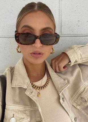 Модные солнцезащитные очки леопардовые узкие ретро очки 7003/1
