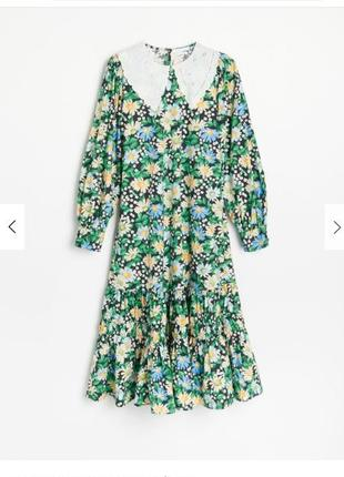 Платье с воротником в ромашку reserved