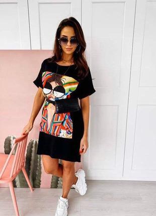 Платье футболка, длинная футболка, платье туника, черная длинная футболка, черное платье (арт.1002952 фото