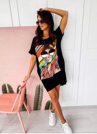 Платье футболка, длинная футболка, платье туника, черная длинная футболка, черное платье (арт.100295