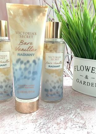 Парфумовані лосьйон і спрей victorias secret з нової колекції radiant: bare vanilla radiant1 фото