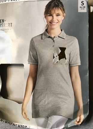 Качественная удлиненная футболка поло esmara s 36-38 евро наш 42-44