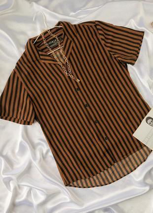 Рубашка в полоску свободная оверсайз с коротким рукавом стильная блуза