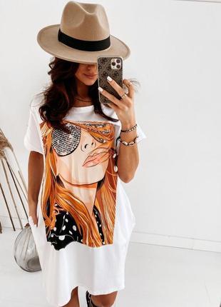 Платье футболка, длинная футболка, платье туника, белая длинная футболка, белое платье (арт.100297)