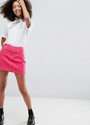Красивая,джинсовая,малиновая,мини- юбка diesel оригинал,индия,хлопок