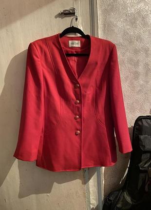 Винтажный малиновый пиджак4 фото