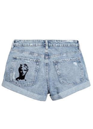Крутые шорты джинс, вышивка, кэжуал, h&m
