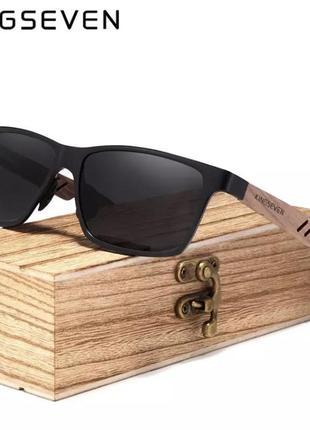 Kingseven деревянные мужские солнцезащитные очки, поляризационные деревянные солнцезащитные очки