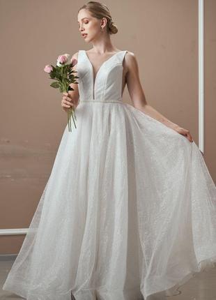 Свадебное платье новое!!мерцающее свадебное платье