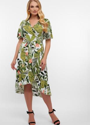 Платье на запах батал с тропическим принтом - бело-зеленое, арт. 56608