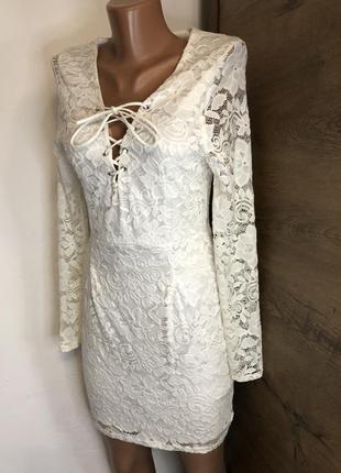 💫белое кружевное платье / свадебное / вечернее boohoo