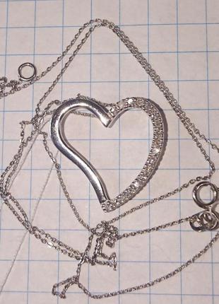 Кулон подвеска сердце бриллиант діамант белое золото 585