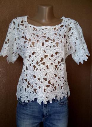 Белая блузка кружевная ажурная короткий рукав размер 10-12 atmosphere