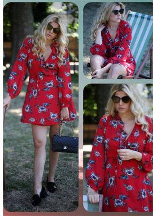 Шифоновое короткое платье с рюшами на запах glamorous/цветочный принт