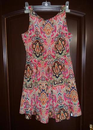 Милое пышное яркое платье marks&spenser 8 размер xs-s