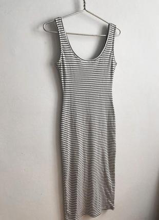 Платье миди в рубчик, полосатое платье в рубчик