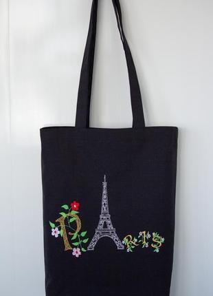 "Тканевая сумка-шопер с вышивкой ""париж""."