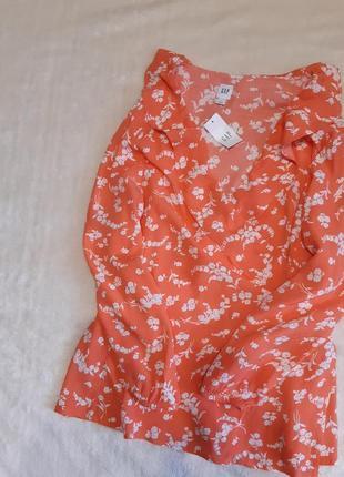 Новая с этикеткой лёгкая коралловая блузка запах оборки принт длинный рукав вискоза р.12-14 gap