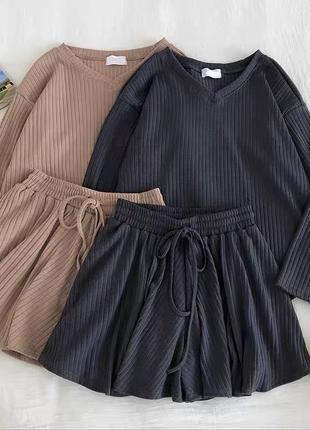 Костюм кофточка + шорты 😍 цвета: чёрный, серый, беж, зелёный3 фото