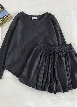 Костюм кофточка + шорты 😍 цвета: чёрный, серый, беж, зелёный5 фото