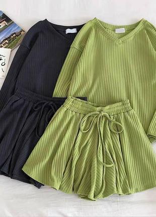 Костюм кофточка + шорты 😍 цвета: чёрный, серый, беж, зелёный6 фото