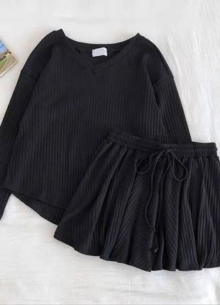 Костюм кофточка + шорты 😍 цвета: чёрный, серый, беж, зелёный7 фото