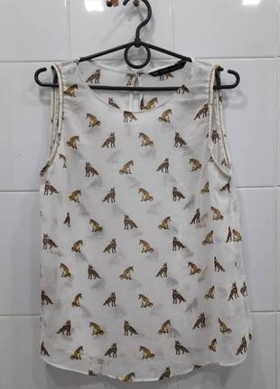 Милая шифоновая блузка с лисичками zara