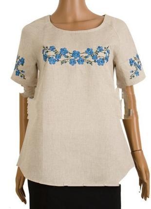 Вышиванка, блуза льняная с полевыми цветами 46 размер