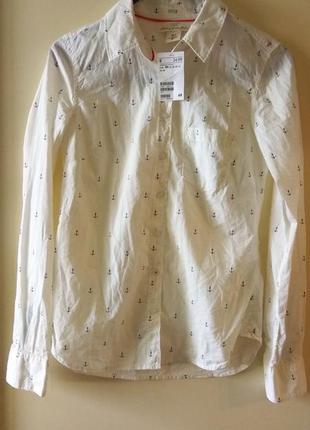 Рубашка хлопок h&m с якорьками