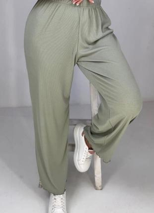 Штаны палаццо брюки клёш в рубчик