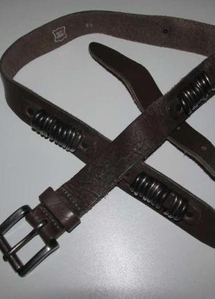 Ремень с кольцами, кожаный, 103 см, как новый!