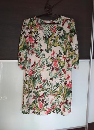 Актуальное платье из натуральной ткани в цветочный принт от h&m