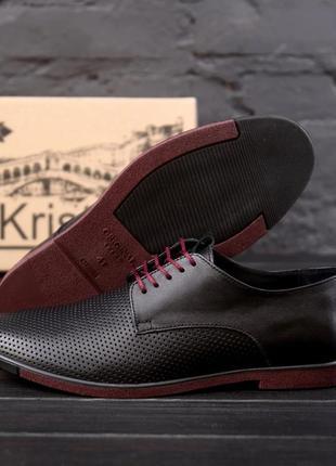 Чоловічі шкіряні літні туфлі, чорні / мужские кожаные летние туфли, черные, vankristi classic2 фото