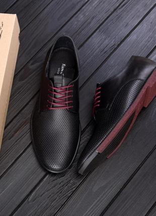 Чоловічі шкіряні літні туфлі, чорні / мужские кожаные летние туфли, черные, vankristi classic