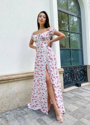 Легкое длинное воздушное платье в цветочный принт