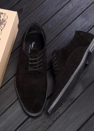 Чоловічі шкіряні літні туфлі, чорні / мужские кожаные летние туфли, замша, черные,vankristi classic