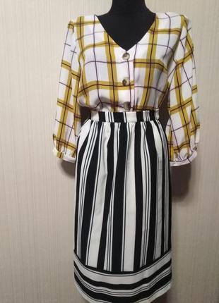 Костюм сборка юбка в полоску блуза с баской