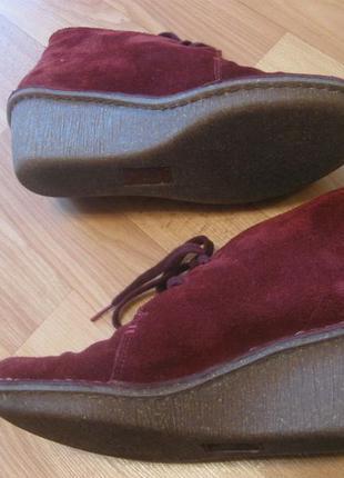 Замшевые замш кожаные кожа ботинки ботильоны марсала