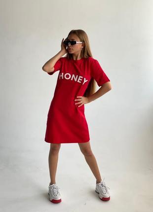 Платье - футболка красное