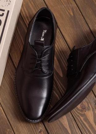 Чоловічі шкіряні туфлі, класичні чорні / мужские кожаные туфли, классические черные, vankristi