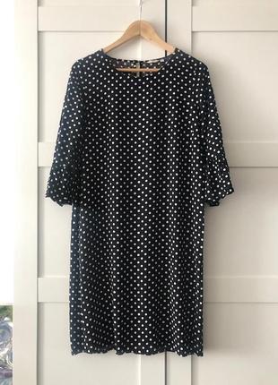 Платье миди размер м /черное в белый горох / из вискозы