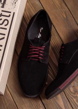 Чоловічі шкіряні туфлі, класичні чорні/ мужские кожаные туфли, замша, классические черные, vankristi